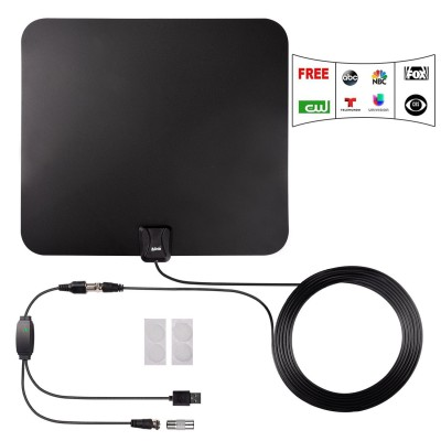 TV Antenna, Kiirie Indoor Amplified HDTV Antenna 50 Mile Range with Detachable Amplifier Signal Booster and 10 Feet Coaxial Cable, Upgraded Version Better Reception