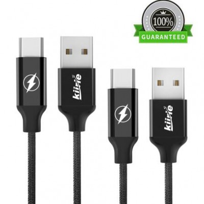 "USB Type C Cable, Kiirie 2Pack Nylon Braided Cord Fast Charger with Reversible Connector for LG ,Nexus,Google, Huawei, Macbook 12"" and Other Type C USB Devices"